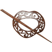 Coconut Scrolled Freeform Shawl Pin