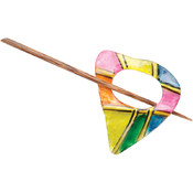 Capiz Shell Shawl Pin-Rainbow