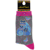 K Bell Laurel Burch Socks-Indigo Cat Wholesale Bulk