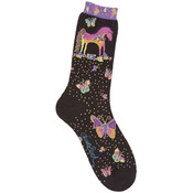 K Bell Laurel Burch Socks-Mythical Mares-Black Wholesale Bulk