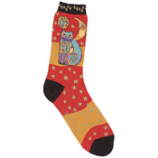 K Bell Laurel Burch Socks-Celestial Cat-Orange Wholesale Bulk