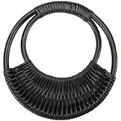 Rattan Purse Handle 7-1/16&quot; Round-Black