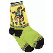 K Bell Laurel Burch Socks-Giraffes -Yellow/Green Wholesale Bulk