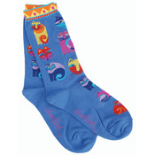 K Bell Laurel Burch Socks-Feline Festival -Blue Wholesale Bulk