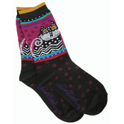 K Bell Laurel Burch Socks-Polka Dot Cats-Black Wholesale Bulk