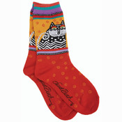 K Bell Laurel Burch Socks-Polka Dot Cats -Red Wholesale Bulk