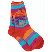K Bell Laurel Burch Socks-Rainbow Cat -Multi Wavy Stripe Wholesale Bulk
