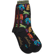 K Bell Laurel Burch Socks-Dog Portraits-Black Wholesale Bulk