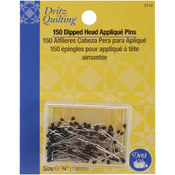 Dritz Quilting Black Dipped Head Applique Pins-3/4