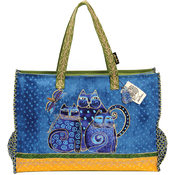 "Oversized Tote W/Zipper Top 22""X5-1/2""X15""-Indigo"