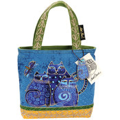 "Medium Tote W/Zipper 10""X3""X8-1/2""-Indigo Cat"