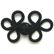 "Rayon Braid Frog Closure-Black 3""X1-3/4"""