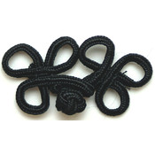 "Rayon Braid Frog Closure-Black 2-1/2""X1"""