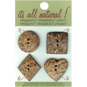 Handmade Coconut Button-Natural - Assorted Shapes