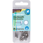 "Upholstery Decorative Nails 3/8"" 36/Pkg-Nickel Smo"