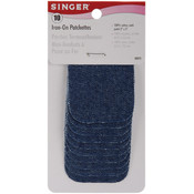 "Iron-On Patches 2""X3"" 10/Pkg-Denim"