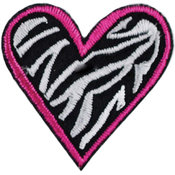 Iron-On Appliques-Zebra Heart 1/Pkg