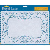 French Lace Paper Doilies-9.75&quot;X14.5&quot; White 16/Pkg