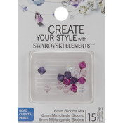 Jolees Swarovski Elements Bicone-6mm Fuchsia Mix 15/Pkg Wholesale Bulk