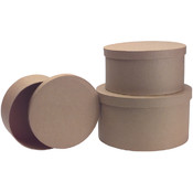 "Paper Mache Round Box Set Of 3-9"", 7-3/4"", 7"""