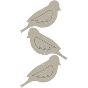 Die-Cut Grey Embellishment-Triple Bird Wallhanging