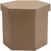 "Paper Mache Tall Hexagon Box-3""X3""X3"""