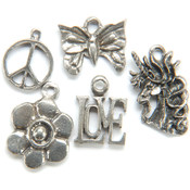 Metal Charm Mix 5/Pkg-The 60's
