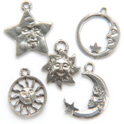 Metal Charm Mix 5/Pkg-Sun, Moon, & Stars