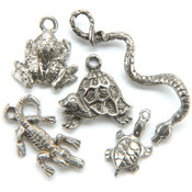 Metal Charm Mix 5/Pkg-Swamp Critters