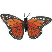 "Painted Butterflies With Wire-4-1/2"" Orange Monarc"