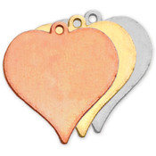 "Stamping Blank Heart W/Ring 7/8"" 2/Pkg-Brass"