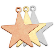 "Stamping Blank Star W/Ring 7/8"" 2/Pkg-Copper"