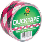 Shurtech Patterned Duck Tape 1.88' Wide-Pink Argyle Wholesale Bulk