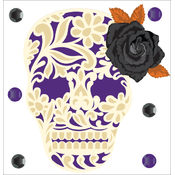 Jolee's Halloween Stickers-Lacey Skull With Rose