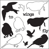 "Clear Photopolymer Stamps 4""X4""-Wings To Fly Birds"