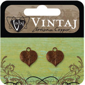 Vintaj Metal Accent-Teensie Nouveau Leaf 13x12mm
