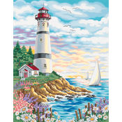 Paint By Number Kit 14&quot;X11&quot;-Lighthouse At Sunrise