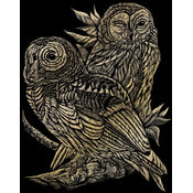 "Gold Foil Engraving Art Kit 8""X10""-Owls"