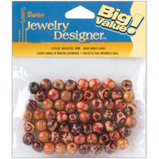 Wood Barrel Beads 9mm 60/Pkg-Printed Wholesale Bulk