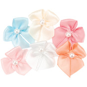 Ribbon Bows w/Pearl Center 40/Pkg-Multi Colors