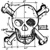 "Red Rubber Stamp-Skull Sketch 4""X3.5"""