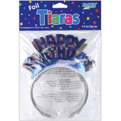 Creative Expressions Foil Tiaras 4/Pkg-Happy Birthday Assorted Colors Wholesale Bulk