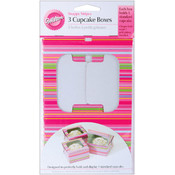 Cupcake Boxes 3/Pkg - Holds 1-Snappy Stripes Wholesale Bulk