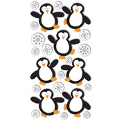 "Dimensional Stickers 2.75""x6.75""-Penguins&Snowflak"