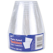 Creative Expressions Plastic Fluted Tumblers 9 Ounces 8/Pkg-Clear Wholesale Bulk