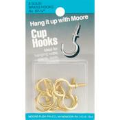 Moore Push Pin Brass Cup Hooks - 0.87' Wholesale Bulk
