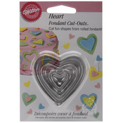 Fondant Cut-Outs 3/Pkg-Hearts Wholesale Bulk