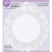 Grease-Proof Doilies-8&quot; White Circle 16/Pkg