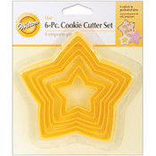 Nesting Plastic Cookie Cutters 6/Pkg-Yellow Stars