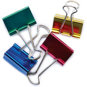 Baumgartens Large Binder Clips 1-1/4' 4/Pkg-Assorted Colors Wholesale Bulk